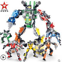 欢乐童年 星钻积木积变战士3儿童塑料拼插拼装机器人男孩益智玩具积木