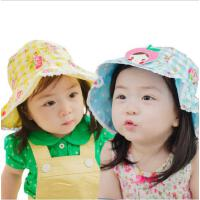 kk树韩国夏季遮阳帽儿童盆帽时尚淑女甜美沙滩帽新品女童盆帽遮阳