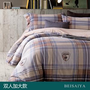 贝赛亚 纯棉阳绒加厚磨毛床品 双人加大印花床上用品四件套 芬利