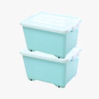 当当优品 加厚塑料滑轮整理箱 2个装 淡蓝色 约28L