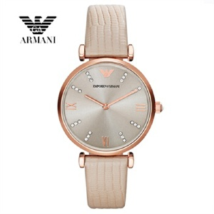 Armani阿玛尼手表 女 手表女士手表真皮水钻女表夏季新AR1681