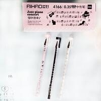 爱好 4166黑色全针管中性笔0.35mm(12支装)创意文具猫咪音律系列学生中性笔卡通时尚可爱水笔全针管水笔 当当自营