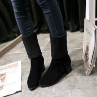 彼艾2016秋冬新款短靴毛线中筒女靴韩版粗跟弹力靴高跟防水台马丁靴潮女靴子