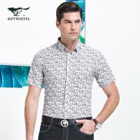 七匹狼衬衫 夏季新品 男士时尚短袖印花休闲衬衫 男装5048601