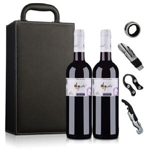 酒仙网红酒礼盒西班牙德古斯特干红葡萄酒(双支皮盒套装)750ml*2