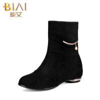 彼艾2016秋冬季北京布鞋女靴妈妈靴新款低跟短靴子磨砂内增高女靴妈妈靴女靴子