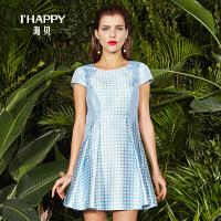 海贝新款经典格子裙子显瘦短袖连衣裙