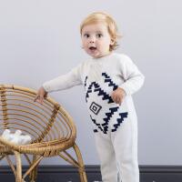 davebella戴维贝拉男女宝宝秋冬季棉羊毛针织连体衣