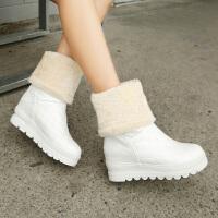 彼艾2016秋冬新款靴子防水PU雪地靴内增高中筒靴厚底中靴加厚保暖棉靴舒适透气保暖毛毛女靴