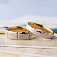 相思树 情侣戒指条纹女时尚饰品 日韩版黑色黄金色对戒子男一对尾戒简约刻字 可做项链生日礼物