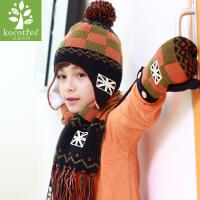 韩国kk树宝宝帽子秋冬男女儿童帽子围巾两件套针织保暖护耳帽帅气