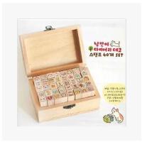 韩国文具toto可爱木盒印章卡通兔子女孩 个性DIY日记印章 创意印章可爱日记印章 木质鼓励印章 木盒卡通儿童奖励小印章