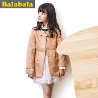 巴拉巴拉balabala童装女童风衣 中大童长外套儿童秋装新款