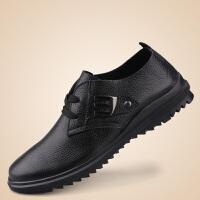 【货到付款】ROWOO真皮大码男士商务休闲皮鞋男鞋休闲透气皮鞋洞洞鞋低帮系带单鞋