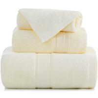 [当当自营]三利 长绒棉加厚缎档方巾/毛巾/浴巾三件套礼盒装 米色
