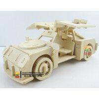 木质手工diy组装仿真小跑车模型玩具法拉利 益智木制拼装汽车模型
