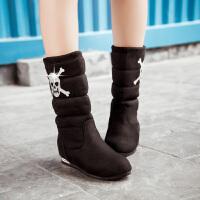 彼艾2016冬季新款加厚骷髅头女靴平底套筒棉鞋圆头内增高中筒雪地靴女