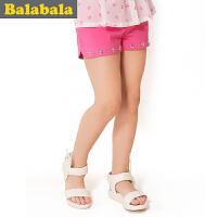 巴拉巴拉童装女童时尚休闲纯色短裤中大童裤子儿童夏装新款潮