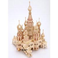 木质成人立体3d拼图模型玩具儿童益智力木制积木动手拼装大型城堡