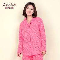 康妮雅冬季家居服  女士波点印图夹棉加厚长袖睡衣套装