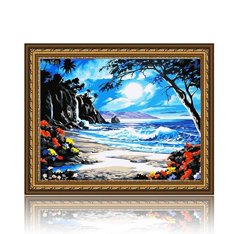 舞动色彩 海之风韵 diy数字油画风景彩绘装饰画 w0234