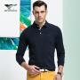【七匹狼】经典款 男士纯棉多色翻领时尚商务休闲POLO衫长袖t恤 男装 6014602