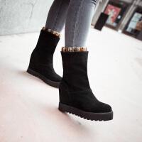 彼艾2016秋冬新款女鞋厚底防滑中筒靴保暖时尚内增高女棉靴中筒靴靴子