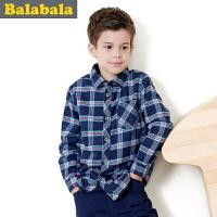 巴拉巴拉童装男童衬衫长袖加绒中大童保暖纯棉格子儿童衬衣加厚男
