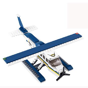 小鲁班积木拼装 启蒙拼插积木益智游戏玩具 水上飞机