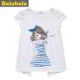 巴拉巴拉童装女童拼接短袖T恤中大童卡通打底衫儿童夏装新款