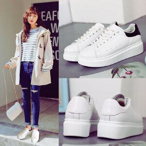 ZHR2017秋季新款真皮小白鞋女板鞋白色运动鞋韩版平底单鞋厚底鞋休闲女鞋G35