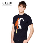 NSNF纯棉动漫插画黑色短袖T恤 2017年春夏新款