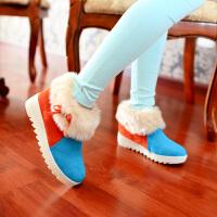 彼艾2015秋冬季新款韩版粉色淑女平底舒适休闲内增高短靴毛毛靴冬靴雪地靴