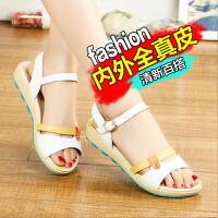 【小清新 真皮】夏季新款凉鞋女平跟平底凉鞋拼色少女学生休闲女鞋M28