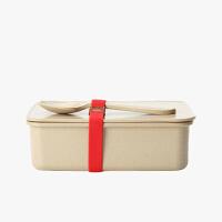 当当优品 壳氏唯稻壳环保创意保鲜盒 可微波炉加热饭盒 长方形便当盒带勺 (大)