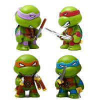 忍者神龟 可动人偶模型 Q版公仔四款 汽车载摆件饰品 玩具 四款一套的忍者神龟 头手可动 可装备武器!