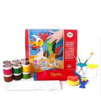 送画纸美乐儿童手指画套装大师装印泥 彩色颜料创意画 无毒可水洗