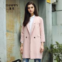 【海贝超级品牌日 买三免一再满减】海贝春装新款纯色两粒扣简约中长款西装外套