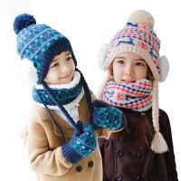 韩国KK树宝宝帽子围巾手套三件套男女童秋冬小孩新款帽子保暖套装