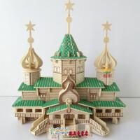 3d立体拼图玩具模型手工积木 木质木板成人普通拼图木头建筑城堡