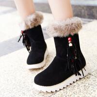 彼艾2016冬季民族风中筒流苏靴套筒平底平跟磨砂加厚加绒毛绒厚底女鞋女靴