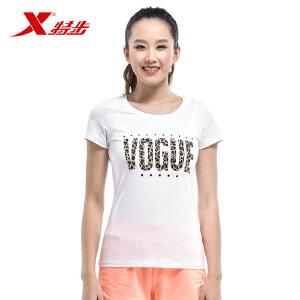 特步女子短袖T恤商场同款夏季新款透气清凉女子休闲运动上衣