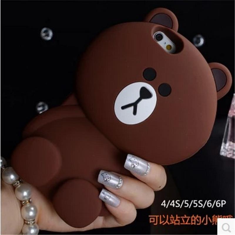 站立小熊iphone6plus保护套苹果5s可爱软硅胶外壳4.