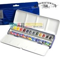 全店满99包邮!正品温莎牛顿Cotman 歌文固体水彩 24色水彩颜料蓝铁盒套装