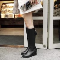 彼艾2016秋冬季新品平底内增高长靴女 厚底松糕防水台修身瘦腿弹力靴子