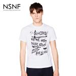 NSNF纯棉手绘字母排列印花白色短袖T恤 2017年春夏新款