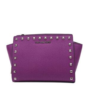 紫色小号铆钉包现货   Michael Kors MK 女士小号十字纹牛皮铆钉女包笑脸斜挎包