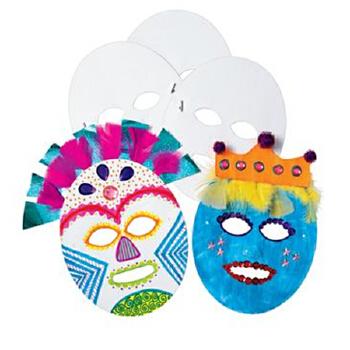 白色自绘面具 纸帽 儿童涂涂画画 diy彩绘 白模上色 24个装 幼儿园
