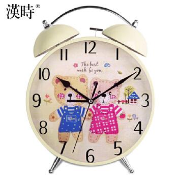 汉时钟表 超大尺寸闹钟 创意儿童卡通可爱小熊静音懒人小闹钟座钟 台