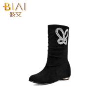 彼艾2016秋冬季北京布鞋女靴妈妈靴低跟短靴子水钻磨砂内增高女靴妈妈靴女靴子